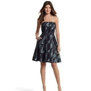 WHBM Black Silver Print Strapless Dress 4